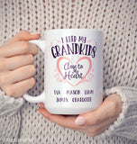 I Keep My Grandkids Close To My Heart - Personalized Mug - Coffee Mugs
