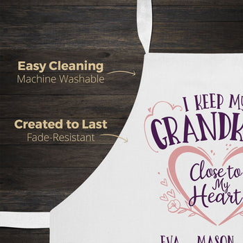 I Keep My Grandkids Close To My Heart - Personalized Apron - Aprons