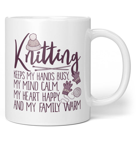 Knitting Keeps My Hands Busy - Coffee Mug / Tea Cup