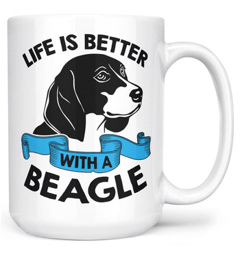 Life Is Better with a Beagle - Mug - White / Large - 15oz