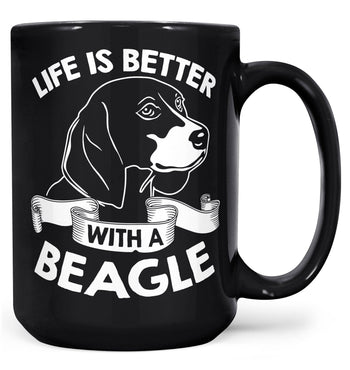 Life Is Better with a Beagle - Mug - Black / Large - 15oz