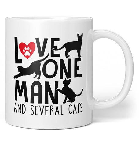 Love One Man and Several Cats - Coffee Mug / Tea Cup