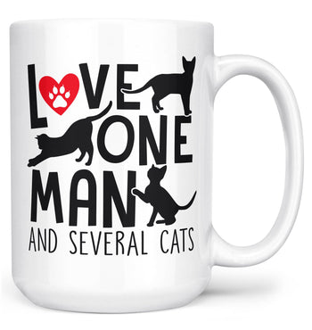 Love One Man and Several Cats - Mug - White / Large - 15oz