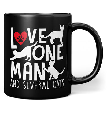 Love One Man and Several Cats - Mug - Black / Regular - 11oz