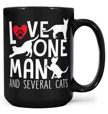 Love One Man and Several Cats - Mug - Black / Large - 15oz