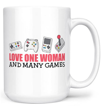 Love One Woman and Many Games - Mug - White / Large - 15oz