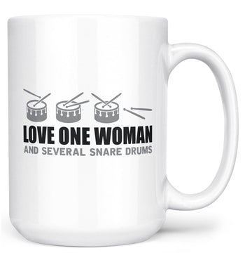 Love One Woman and Several Snare Drums - Mug - Large - 15oz