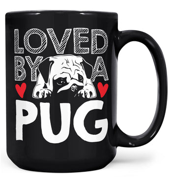 Loved by a Pug - Mug - Black / Large - 15oz