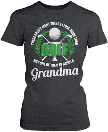 This (Nickname) Loves Golf - Personalized T-Shirt - Women's Fit T-Shirt / Dark Heather / S
