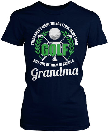 This (Nickname) Loves Golf - Personalized T-Shirt - Women's Fit T-Shirt / Navy / S