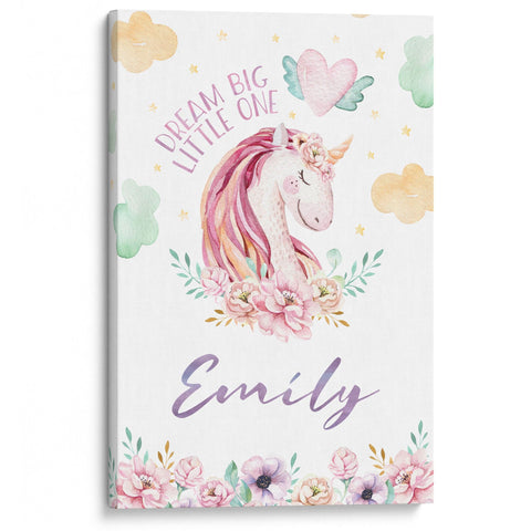 Dream Big Little One, Magical Unicorn - Personalized Canvas
