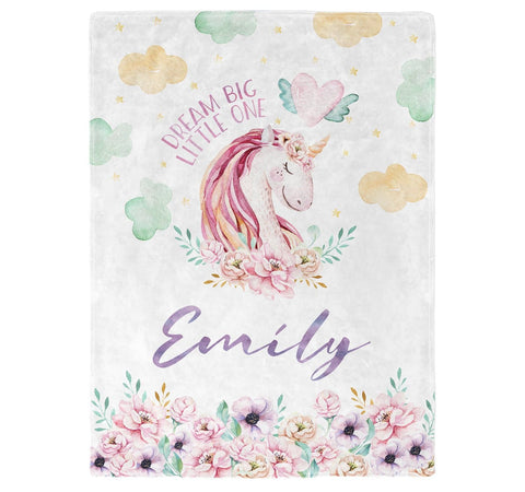Magical Unicorn - Personalized Name Blanket - Micro Fleece