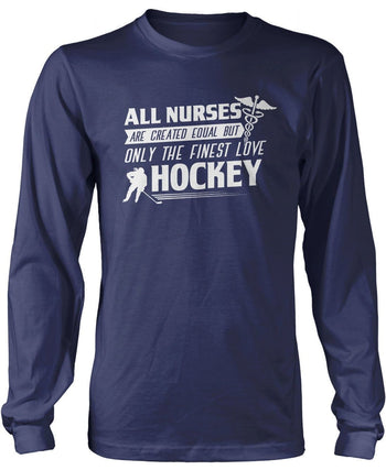 The Finest Nurses Love Hockey - Long Sleeve T-Shirt / Navy / S