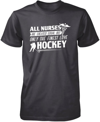 The Finest Nurses Love Hockey - Premium T-Shirt / Dark Heather / S