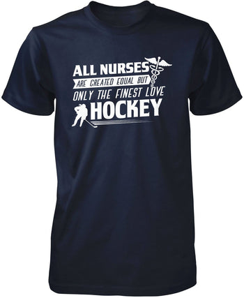 The Finest Nurses Love Hockey - Premium T-Shirt / Navy / S