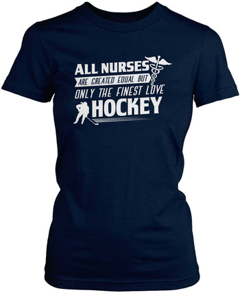The Finest Nurses Love Hockey - Women's Fit T-Shirt / Navy / S
