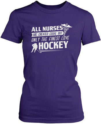 The Finest Nurses Love Hockey - Women's Fit T-Shirt / Purple / S
