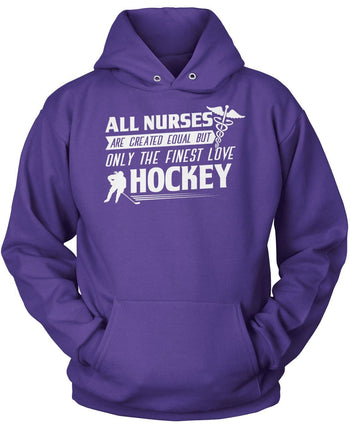 The Finest Nurses Love Hockey - Pullover Hoodie / Purple / S