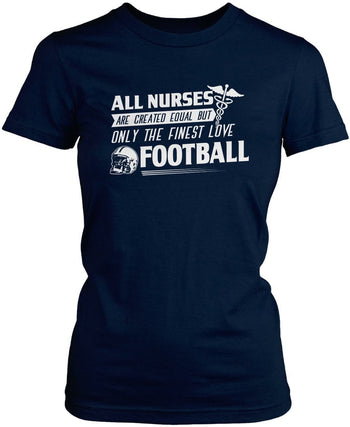 The Finest Nurses Love Football - Women's Fit T-Shirt / Navy / S