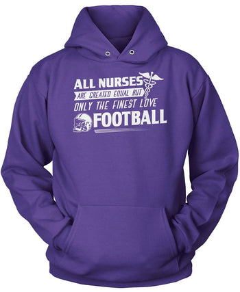 The Finest Nurses Love Football - Pullover Hoodie / Purple / S