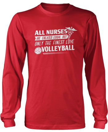 The Finest Nurses Love Volleyball - Long Sleeve T-Shirt / Red / S