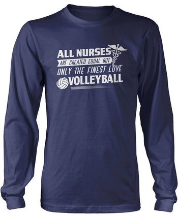 The Finest Nurses Love Volleyball - Long Sleeve T-Shirt / Navy / S