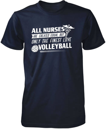The Finest Nurses Love Volleyball - Premium T-Shirt / Navy / S