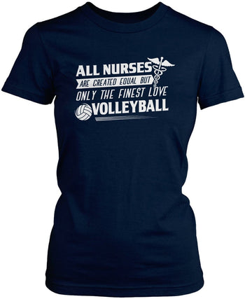 The Finest Nurses Love Volleyball - Women's Fit T-Shirt / Navy / S