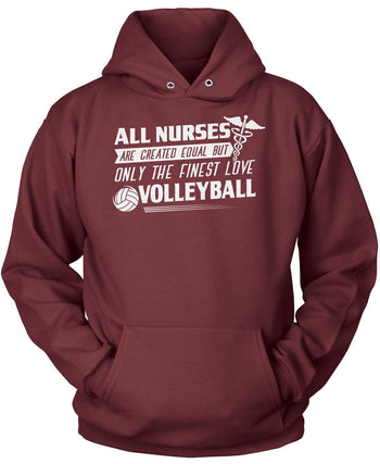 The Finest Nurses Love Volleyball - Pullover Hoodie / Maroon / S
