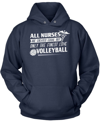 The Finest Nurses Love Volleyball - Pullover Hoodie / Navy / S