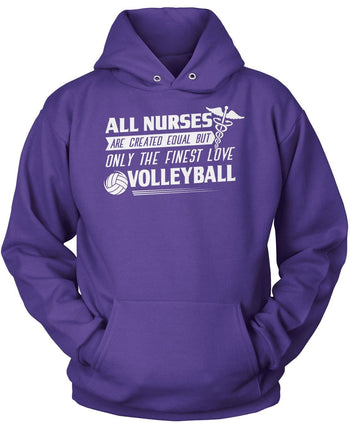 The Finest Nurses Love Volleyball - Pullover Hoodie / Purple / S