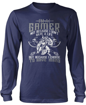 This Gamer Has Many Lives - Long Sleeve T-Shirt / Navy / S