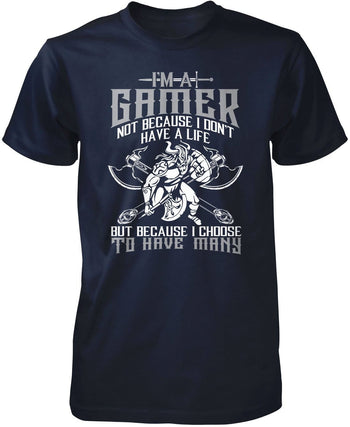 This Gamer Has Many Lives - Premium T-Shirt / Navy / S