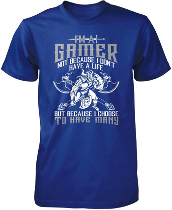 This Gamer Has Many Lives - Premium T-Shirt / Royal / S