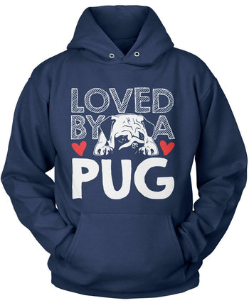 Loved by a Pug - Pullover Hoodie / Navy / S