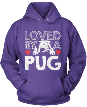 Loved by a Pug - Pullover Hoodie / Purple / S