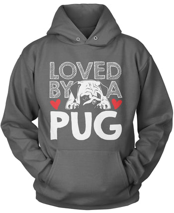 Loved by a Pug - Pullover Hoodie / Dark Heather / S