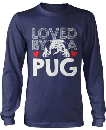 Loved by a Pug - Long Sleeve T-Shirt / Navy / S