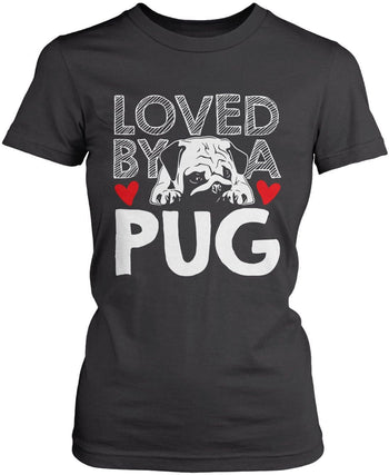 Loved by a Pug - Women's Fit T-Shirt / Dark Heather / S