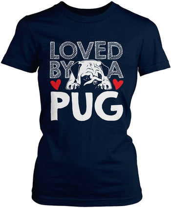 Loved by a Pug - Women's Fit T-Shirt / Navy / S