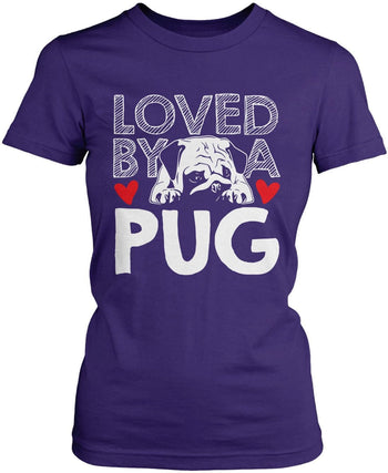 Loved by a Pug - Women's Fit T-Shirt / Purple / S