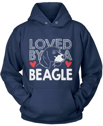 Loved by a Beagle - Pullover Hoodie / Navy / S