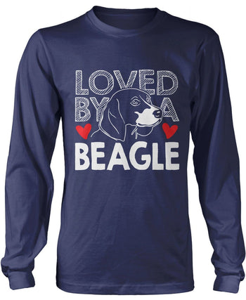 Loved by a Beagle - Long Sleeve T-Shirt / Navy / S