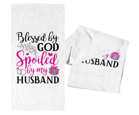 Blessed by God Spoiled by My Husband - Kitchen Towel - Towels