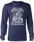 I'll Take a Biker in Leathers Any Day - Long Sleeve T-Shirt / Navy / S