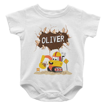 Happy Excavator - Personalized Baby Bodysuit - Baby Apparel