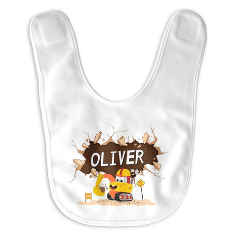 Happy Excavator - Personalized Baby Bib - Baby Apparel