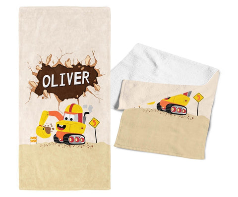 Happy Excavator - Personalized Towel - Towels