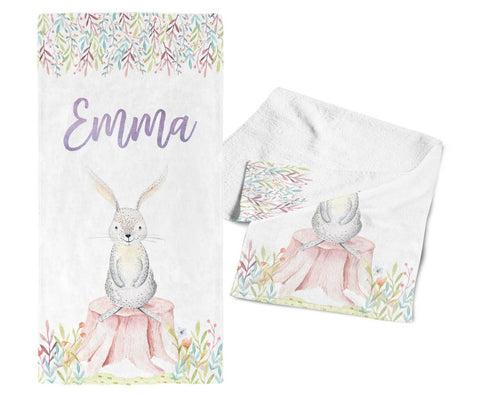 Woodland Bunny - Personalized Kids Name Towel