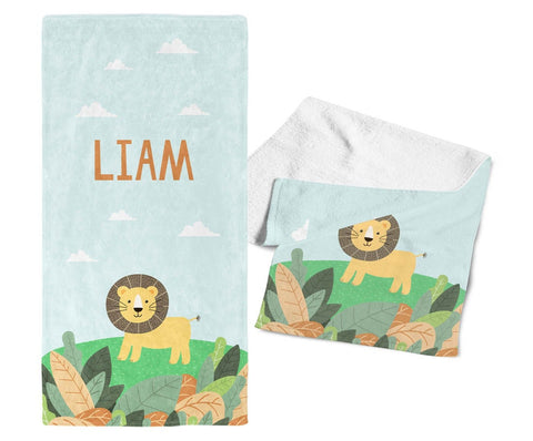 Safari Lion - Personalized Kids Name Towel